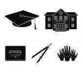 School Building, College With Windows, A Masters Or Applicants Hat, Compasses For A Circle, A Boar poster