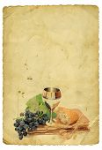 stock photo of chalice antique  - Holy Communion Elements On Old Paper Background - JPG