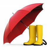 A Pair Of Yellow Rain Boots And A Red Umbrella Isolated On White Background 3d Rendering poster