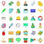 Contemporary Business Icons Set. Cartoon Set Of 36 Contemporary Business Vector Icons For Web Isolat poster