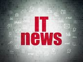 News Concept: Painted Red Text It News On Digital Data Paper Background With  Hand Drawn News Icons poster
