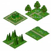Garden Isometric Tile Set. Asset For Design Garden Landscape Scenes With Trees, Bushes, Flowers, Gra poster