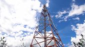 Cell Phone Tower Against A Blue Sky. Tower Of Communications With A Lot Of Different Antennas Under  poster