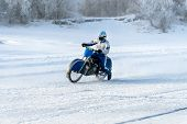 Motorcycle On The Ice Of The Frozen Lake Baikal poster