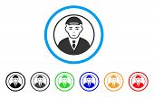 Rounded Man Portrait Rounded Icon. Style Is A Flat Rounded Man Portrait Gray Symbol Inside Light Blu poster