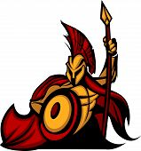 image of spartan  - Greek Spartan or Trojan Mascot holding a shield and spear - JPG