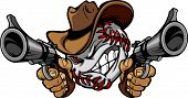 image of vaquero  - Cartoon image of a Baseball with a face and cowboy hat holding and aiming guns - JPG