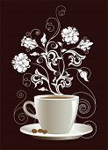 Tasse Kaffee mit floral Design-Elemente. Vektor-Illustration.