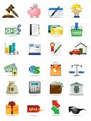 Raster version of vector illustration icons series. All elements and textures are individual objects