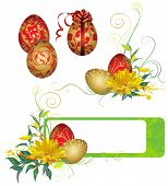 stock photo of easter-eggs  - Frame with Easter eggs and flowers - JPG