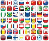 Set of world flags. All elements and textures are individual objects. Vector illustration scale to a
