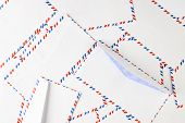 Simple Blank White Envelopes With Clipping Path. Striped Post Envelope. Postal Blank Envelope With S poster