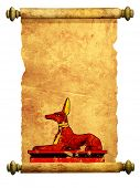 picture of anubis  - Scroll with Egyptian god Anubis image - JPG