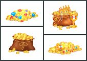 Gold Coins, Expensive Stones And Shiny Precious Treasures In Old Bags And Messy Heaps Isolated Carto poster