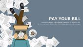 Bill Payment Design In Flat Style. Paying Bills Concept. Man Sitting On The Floor With Lap Top And P poster