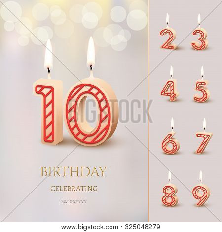 poster of Burning Birthday Candle In The Form Of Number 10 Figure And Happy Birthday Celebrating Text With Num