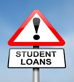 foto of borrower  - Illustration depicting a red and white triangular warning sign with a student loans concept - JPG