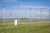 Border Fence Between Rastina (serbia) & Bacsszentgyorgy (hungary). This Border Wall Was Built In 201 poster