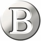 picture of letter b  - 3d steel letter B isolated in white - JPG