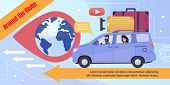 Poster Advertising Travel By Car Around Globe. Cartoon Man And Woman With Luggage Driving Car Enjoy  poster