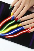 Multi-colored Manicure On A Different Form Of Nails With A Gadget In Hand On A White Background.nail poster