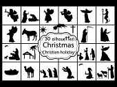 Set Silhouettes Christmas Nativity. Christian Holiday. Vector Illustration poster