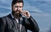 Businessman Against The Sky. Future Success. Male Formal Fashion. Mature Hipster With Beard. Bearded poster