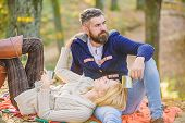 Picnic Time. Happy Loving Couple Relaxing In Park Together. Romantic Picnic Forest. Couple In Love T poster