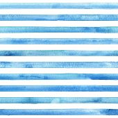 Watercolor Teal Blue Stripes On White Background. Blue And White Striped Seamless Pattern. Watercolo poster
