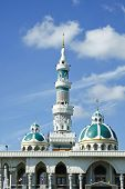 image of masjid nabawi  - Minaret and dome of the mosque in Thailand with blue sky and cloud - JPG