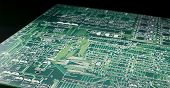 stock photo of pnp  - Printed circuit board close up with black background