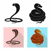 Vector Design Of Mammal And Danger Sign. Collection Of Mammal And Medicine Stock Symbol For Web. poster