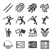 Javelin Throw Sport And Recreation Icon Set,vector And Illustration poster