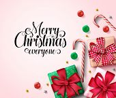 Christmas Vector Background Template. Merry Christmas Everyone Greeting Text In Empty Space For Mess poster