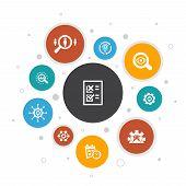 Business Process Infographic 10 Steps Bubble Design.implement, Analyze, Development, Processing Icon poster