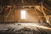 Old House Attic Home Decor For Renovation. Rustic Attic For Renovation. Attic In Old House. Rustic A poster
