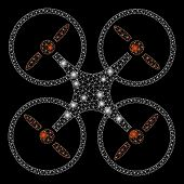 Glossy Mesh Quadcopter With Sparkle Effect. Abstract Illuminated Model Of Quadcopter Icon. Shiny Wir poster
