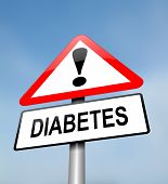 pic of diabetes  - Illustration depicting a red and white triangular warning sign with a diabetes concept - JPG