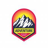 Adventure Extreme Sport - Concept Badge Design. Mountains Climbing Creative Logo. Expedition Outdoor poster