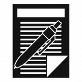 Pen Paper Document Icon. Simple Illustration Of Pen Paper Document Vector Icon For Web Design Isolat poster