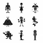 Isolated Object Of Creature And Devilry Sign. Collection Of Creature And Halloween Vector Icon For S poster