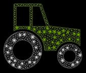 Flare Mesh Wheeled Tractor With Glare Effect. Abstract Illuminated Model Of Wheeled Tractor Icon. Sh poster