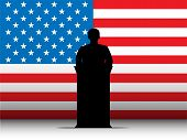 United States Of America Usa Speech Tribune Silhouette With Flag Background