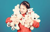 Small Girl Smiling Face With Toys. Happy Childhood. Little Girl Play With Soft Toy Teddy Bear. Lot O poster