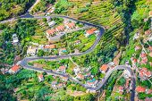 Aerial View Of A Village Curral Das Freiras, Madeira Island, Portugal. Rural Houses, Green Terraced  poster