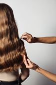 Closeup Of Female Hands Of Hairdresser Or Coiffeur Makes Hairstyle. Hair poster