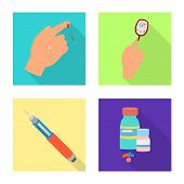 Isolated Object Of Symptom And Disease Icon. Set Of Symptom And Treatment Stock Symbol For Web. poster