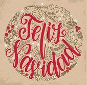 Feliz Navidad Lettering. Feliz Navidad Christmas Lettering Circular Design. poster