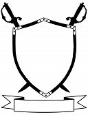 pic of crossed swords  - Isolated 16th Century War Shield with Crossed Swords and Banner - JPG