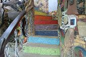 Photo Of Colorful, Fabulous Staircase. Beautiful Scenery.patterned Railing.the Stairs Are Made Of Co poster